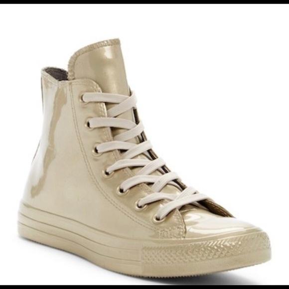 2c38a9665de NIB Gold Converse Hi Tops!